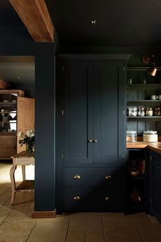 Dark kitchen cabinets in a beautiful design by devol! Pantry Cupboard, Kitchen Pantry, New Kitchen, Kitchen Ideas, Kitchen Layout, Kitchen Decor, Pantry Cabinets, Built In Cabinets, Kitchen Trends