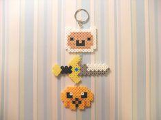 Perler Bead Adventure Time Keychain Finn, Jake, and a sword perler beads by KawaiiLittlePresents