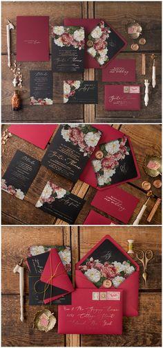 Vintage Burgundy and Black Glitter Wedding Invitations 04Gvinz #weddings #weddingideas #invitations #vintage #vintageweddings ❤️ http://www.deerpearlflowers.com/botanical-wedding-inviations-from-4lovepolkadots/