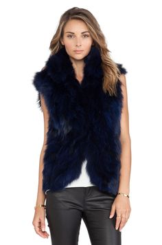 Adrienne Landau Fox Fur Vest in Navy | REVOLVE