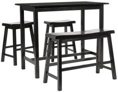 The transitional Ronin 4-piece pub table set  is the ideal addition to kitchen, studio apartment, family room or entertainment room. Crafted from sturdy Malaysian Oak with rich dark espresso finish, it features a table, two low profile barstools and coordinating bench. As a bonus, use it for extra counter space for service during buffets and parties.  Assembly required.