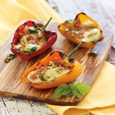 Italian Style Grilled Stuffed Peppers with Tre Stelle Bocconcini Grilled Stuffed Peppers, Five Ingredients, Italian Style, Bruschetta, Grilling, Appetizers, Vegetables, Ethnic Recipes