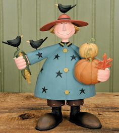 Boy Holding Pumpkins and Corn Figurine Boy Holding Pumpkins and Corn Figurine – Harvest Folk Art Figurines & Thanksgiving Collectibles – Williraye Studio $37.00