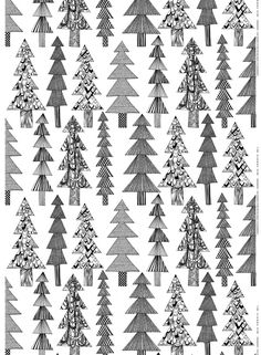 Kuusikossa -puuvilla Christmas Inspiration, Pattern Design, Fabric Design, Pretty Patterns, Color Patterns, Tree Patterns, Marimekko Fabric, Marimekko Wallpaper, Graphic Patterns