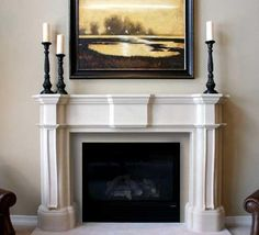 Purchase our Monticello cast stone fireplace mantel surround, available with or without optional stone facing and stone hearth without any aesthetic compromise. Fireplace Mantel Surrounds, Marble Fireplace Mantel, Stone Fireplace Mantel, Home Fireplace, Marble Fireplaces, Light My Fire, Hearth, Living Room, Furniture