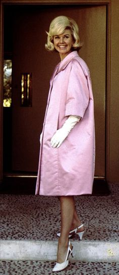 Doris Day Wearing a Givenchy Creation during a Visit to Paris, July 1960. malepatternboldness.blogspot.com