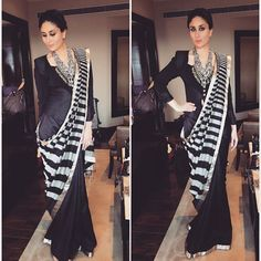 Kareena Kapoor khan in a @devrnil saree @christianlacroix vintage jacket and @amrapalijewels for the HT SUMMIT in delhi today! ❤️ hair by @pompyhans