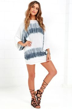 Cute Grey and Ivory Dress - Tie-Dye Dress - Mini Dress - $39.00