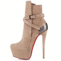 Taupe Christian Louboutin Equestria Ankle 140mm Suede