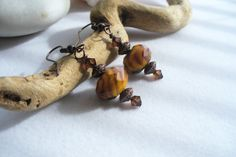 Drop Earrings with Amber Swirl Rondelles Copper by Sparklesalot2, $6.75