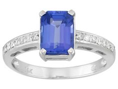 1.50ct Emerald Cut Tanzanite With .10ctw Diamond 14k Wg  Ring Web Only Erv $961