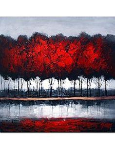 Dipinto a mano olio pittura astratta Woods pittura a olio con telaio allungato