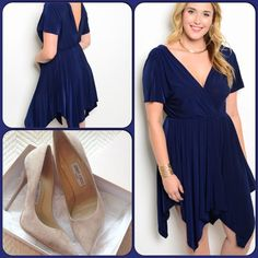 Gorgeous Navy  Blue Dress This gorgeous dress features a handkerchief hem and V back opening. Elastic waist. Short sleeves. Comfortable jersey knit material. Shoes not listed, used to style dress only. (This closet does not trade or use PayPal ) Dresses