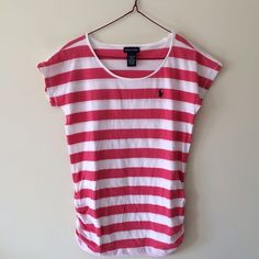 Pink/White Striped Tee Ralph Lauren pink/white striped short-sleeved t-shirt with detailing on bottom sides. Girl's size L/12-14; can fit XS, maybe S. Never worn.  bundle for a discount! price is negotiable, make an offer! Ralph Lauren Tops