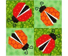 Ladybugs paper piecing quilt block pattern PDF via Etsy