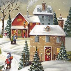 Cozy little winter town, snowflakes falling, children ice-skating - in love with painting Christmas illustrations! Christmas Pictures To Draw, Christmas Drawing, Christmas Paintings, Christmas Images, Christmas Scenes, Cozy Christmas, Christmas Time, Xmas, Christmas Ideas