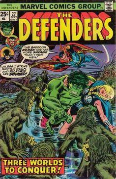 The Defenders # 27 , September 1975 , Marvel Comics Vol 1 1972 On the cover : Defenders ; the Hulk [ Bruce Banner ] ; Marvel Dc, Marvel Comics Superheroes, Marvel Comic Books, Marvel Heroes, Comic Books Art, Dc Comics, Flash Comics, Defenders Comics, Comic Book Collection
