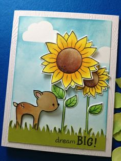 Lawn Fawn - Into the Woods, Our Friendship Grows, Blue Skies, Riley's ABCs, Critters Ever After, Blue Skies Lawn Cuts _ Adorable card by Teri at Paper Crafting Sunshine: Dream BIG!!