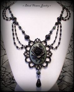 SHADOW ROSE Gothic Victorian Noir Black & Gray Rose Cameo Necklace by Blood Flowers Jewelry