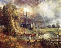 Salisbury cathedral from the meadows, Constable.