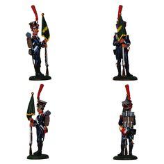 """Abanderado - 8° Regimiento de Infantería ligera - 1809 (Colección """"Soldados de las Guerras Napoleónicas"""" editada por delPrado - 60 mm)"""