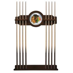 Chicago Blackhawks Eight Stick Pool Cue Rack - Navajo