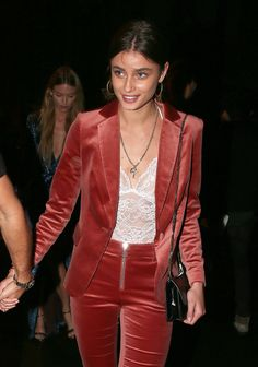 Taylor Hill arriving at the Vogue x Irving Penn party in Paris on October 1st, 2017.