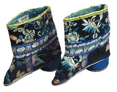 Embroidered women's silk boots for bounded feet. 17-18th century. Qing Dynasty. China National Silk Museum.