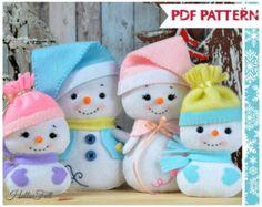 Bonhomme de neige et de la famille patron PDF modèle par HelloFelt