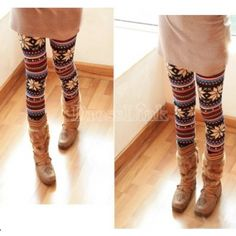 New Fashion Knitted Elastic Snowflake Nordic Reindeer Tights Pants Trousers Leggings. 1 x Leggings. Soft, stretchy design give you both fashion look. Winter Leggings, Warm Leggings, Striped Leggings, Tight Leggings, Colorful Leggings, Leggings Are Not Pants, Awesome Leggings, Stirrup Leggings, Holiday Leggings