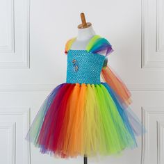 >> Click to Buy << MLP Rainbow Dash Tutu Dress for Girls Little Pony Inspired Handmade Fancy Tulle Dress Easter Birthday Party Costume Size 2T-12T #Affiliate