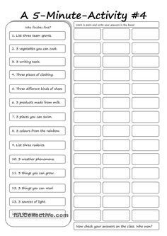 A 5-Minute Activity #4 worksheet - Free ESL printable worksheets made by teachers