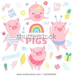 Find Cute Pink Pigs Vector Set Elements stock images in HD and millions of other royalty-free stock photos, illustrations and vectors in the Shutterstock collection. Tableaux D'inspiration, Chinese Calendar, Pig Drawing, Pig Illustration, New Year Designs, Piglets, Funny Stickers, Colorful Drawings, Illustrations And Posters