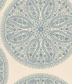 Paisley Circles by Sanderson - Blue / Silver : Wallpaper Direct