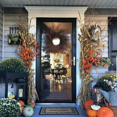 124 decorate your front porch for fall halloween decor fall front porch fall decor 13 Fall Home Decor, Autumn Home, Front Porch Fall Decor, Fall Porches, Front Porch Decorating For Fall, Fall Outdoor Decorating, Fall Front Doors, Fall Door Decorations For Home, Outdoor Fall Decorations