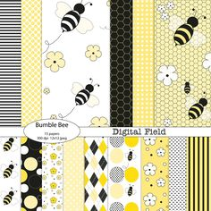 Yellow Black Bumble Bee printable digital paper pack - 15 jpeg papers, 12x12, 300 dpi - Personal and small commercial use. $3.50, via Etsy.