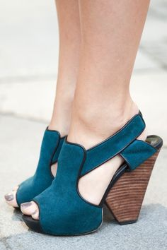 7. A Handbag to Tote Your Essentials~ Teal Suede Peep Toe Slingbacks~would look nice with a teal Miche Bag!