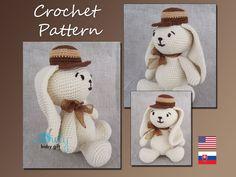Bunny Crochet Pattern, Amigurumi Animal Pattern, Easter Bunny, Rabbit, CP-109