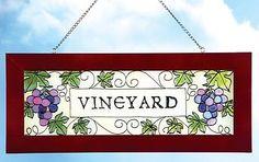 VINEYARD Grape Hanging Framed STAINED GLASS Wall Art Suncatcher Window Sign