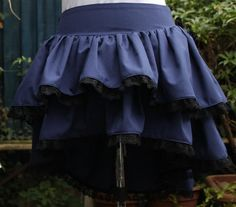 navy blue with black lace bustle skirt with dropped by dashAmbler, $59.95