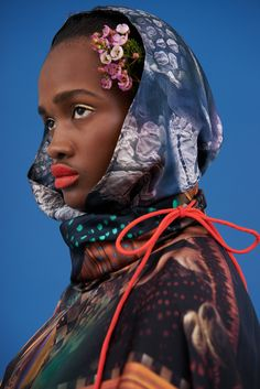 Silk PRINTED LACE HEAD SCARF, HIJAB, HOOD FROM KLEMENTS. SILK POLO. COLOUR BRIGHTS PHOTOSHOOT.   KLEMENTS SILK SCARVES AND HAND DRAWN & PAINTED WOMENSWEAR ALEXANDRA & AINSWORTH ESTATE LONDON PHOTOSHOOT LUXURY FASHION MADE IN ENGLAND SILK CASHMERE EDGY PRINTS ANIMALS
