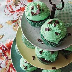 Mint Chocolate Chip Cupcakes from MyRecipes.com