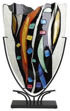 Large Fused Glass V Vase