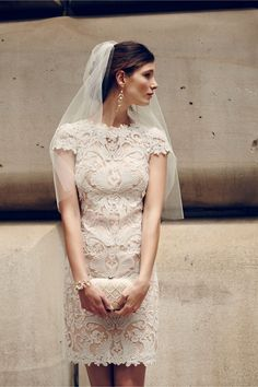 Little white lace dress with a veil for a city hall wedding (Lilian Dress from BHLDN)