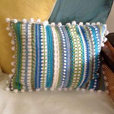 Inspiration: Sampler stitch crochet cushion by heather hunt Crochet Pillow Cases, Crochet Cushion Cover, Crochet Pillow Pattern, Crochet Stitches Patterns, Crochet Motif, Crochet Designs, Knit Crochet, Cushion Covers, Scrap Yarn Crochet