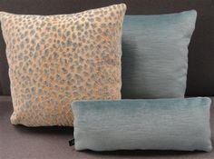 SET Cowtan & Tout Ocelot Grospoint Velvet and Cadet Blue Velvet Pillows B13