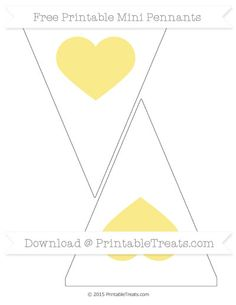 Pastel Yellow  Heart Theme On White Simple Mini Pennants