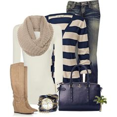 Jane Norman Cream Long Sleeve Tee (white)/jeans/tan boots and scarf/navy and tan striped cardi/blue bag