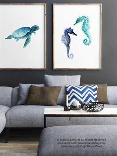 Set of 2, Seaturtle & Seahorse, Watercolor Minimalist Painting, Oceanic life Home Decor, Oceanic Creatures Poster, Blue Nautical Art Prints