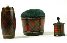 Tartan pin cushion with removal top, needlecase & tape measure